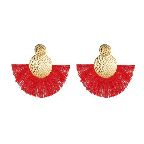 new bohemian style  earrings creative handmade fan-shaped tassel earrings wholesale nihaojewelry NHMO235887's discount tags