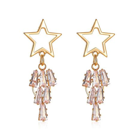 new exaggerated long five-pointed star earrings star tassel crystal zircon earrings wholesale nihaojewelry NHMO235888's discount tags