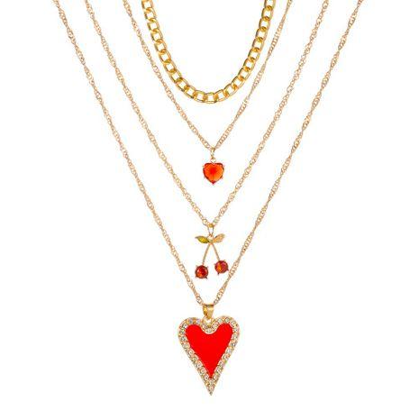 Collier d'amour à 4 couches avec chaîne de chandail cerise de style long Collier multicouche d'amour de Bohême NHMO235890's discount tags