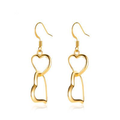 new hollow double love earrings mid-length fashion peach heart earrings wholesale nihaojewelry NHMO235896's discount tags