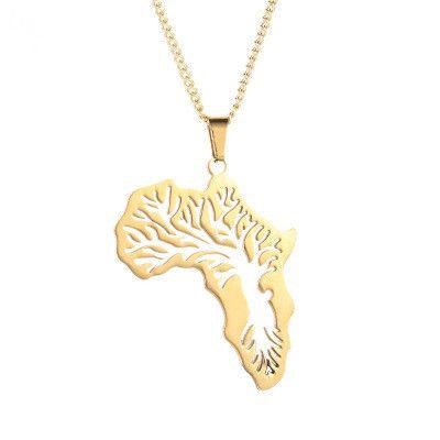 Arbre de vie carte pendentif en acier inoxydable collier créatif collier de feuilles creuses NHMO235898's discount tags