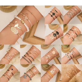 fashion shell tassel bracelet geometric map beaded small animal bracelet set wholesale nihaojewelry NHMO235899