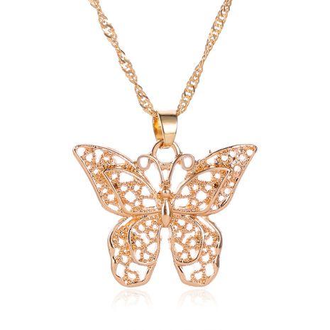Collier pendentif papillon en métal à double couche creux à la mode, chaîne de chandail, grand collier papillon NHMO235903's discount tags