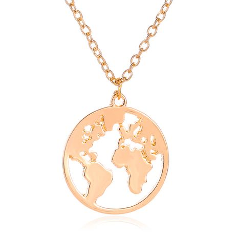 World Map Necklace Couple Pendant Fashion Simple Single Layer Necklace Clavicle Chain NHMO235906's discount tags