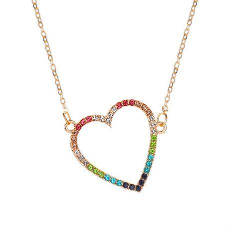 Collier d'amour de couleur simple femmes mode chaîne de clavicule pendentif coeur pêche creuse sauvage NHMO235912's discount tags