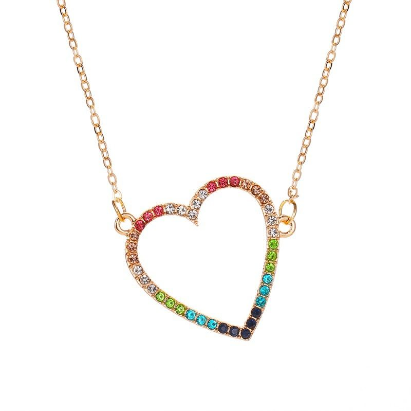 Simple color love necklace women fashion wild hollow peach heart pendant clavicle chain NHMO235912
