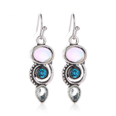 new creative rotating crystal moonstone ear hook earrings sea blue topaz color drop earrings wholesale nihaojewelry NHMO235914's discount tags
