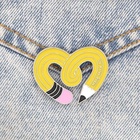 Nueva Insignia de Estudiante Creativa Pin de Esmalte de Arte Amor Twisted Pencil Lettering Broche al por mayor nihaojewelry NHMO235917's discount tags
