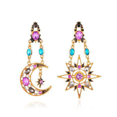 new long asymmetric earrings retro exaggerated sun moon earrings ladies baroque earrings wholesale nihaojewelry NHMO235922's discount tags