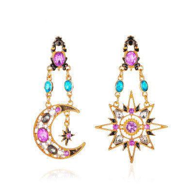 new long asymmetric earrings retro exaggerated sun moon earrings ladies baroque earrings wholesale nihaojewelry NHMO235922