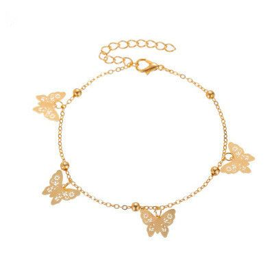 new anklet hollow butterfly pendant anklet summer beach four butterfly anklets wholesale nihaojewelry NHMO235929's discount tags