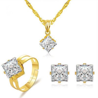 new crystal set jewelry womens fashion party dress accessories square zircon threepiece jewelry wholesale nihaojewelry NHMO235933