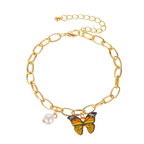 nueva pulsera de color mariposa pulsera de verano creativo colgante de perla pulsera de cadena gruesa al por mayor nihaojewelry NHMO235934's discount tags