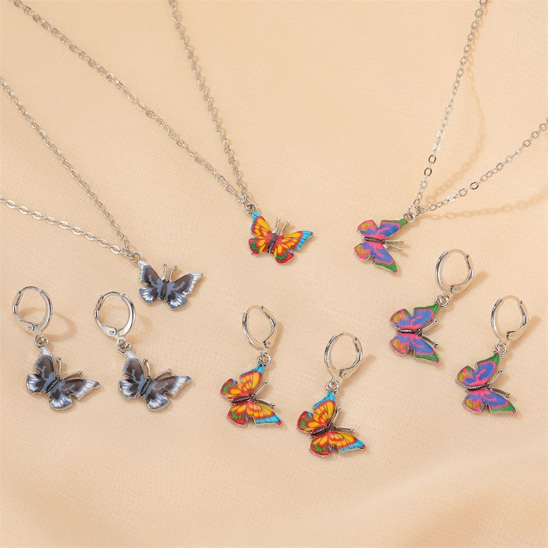 new set jewelry fashion color fantasy butterfly necklace sweet butterfly earring set wholesale nihaojewelry NHMO235936