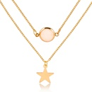Fashion twolayer pendant necklace creative fivepointed star frosted gemstone multilayer necklace women NHMO235939