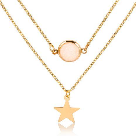 Collier pendentif à deux couches de mode créatif étoile à cinq branches givré collier multicouche de pierres précieuses femme NHMO235939's discount tags