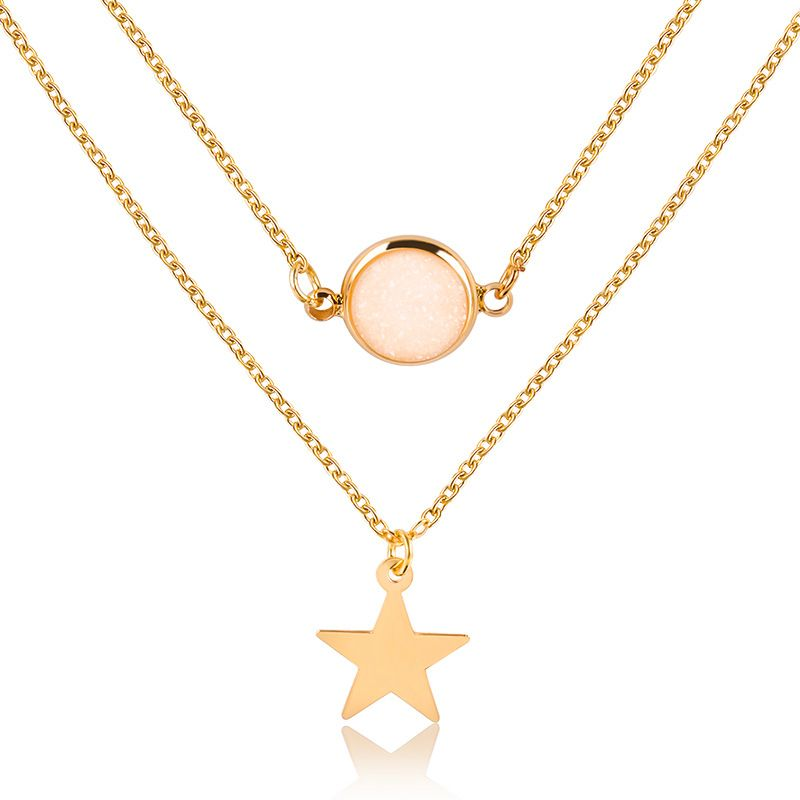 Fashion two-layer pendant necklace creative five-pointed star frosted gemstone multi-layer necklace women NHMO235939