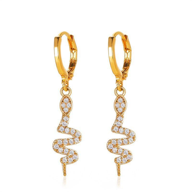 new creative fashion full diamond snake earrings long diamond snake earrings wholesale nihaojewelry NHMO235940