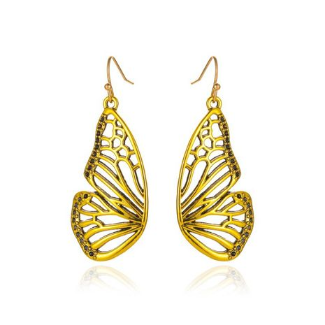 new long gold butterfly pendant earrings retro hollow half butterfly earrings wholesale nihaojewelry NHMO235941's discount tags