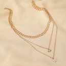 Multilayer necklace retro metal thick chain 3layer green eye long necklace butterfly sweater chain women NHMO235944