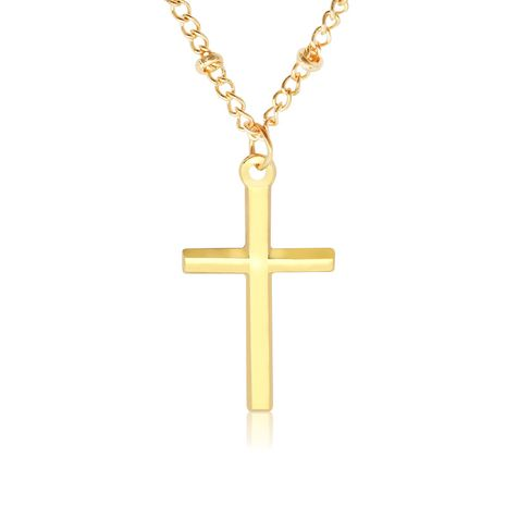 Cross Jesus electroplating bright color positioning bead chain necklace couple necklace clavicle chain NHMO235947's discount tags