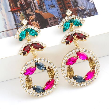 Fashion colored diamond series creative multi-layer alloy diamond-studded rhinestone flower earrings wholesale nihaojewelry NHJE235984's discount tags