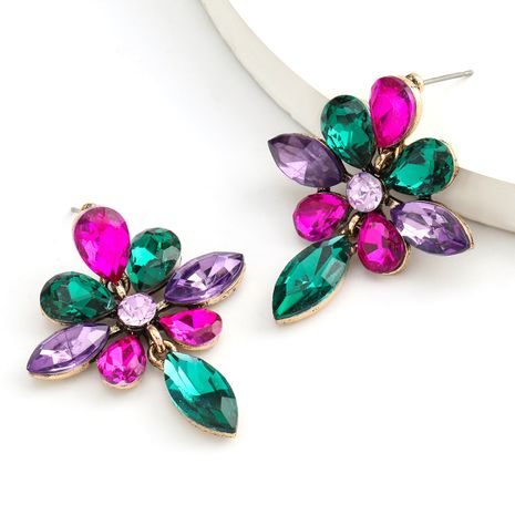 Fashion color diamond series alloy rhinestone flower earrings earrings wholesale nihaojewelry NHJE235986's discount tags