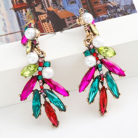 Fashion color diamond series alloy inlaid pearl flower earrings women retro earrings wholesale nihaojewelry NHJE235995's discount tags