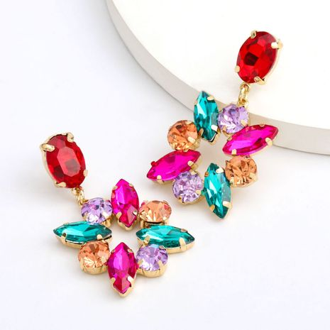 Fashion color diamond series exaggerated earrings alloy rhinestone earrings retro earrings wholesale nihaojewelry NHJE235996's discount tags