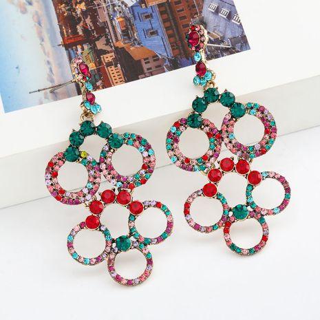Moda Color Diamond Series Multicapa Hueco redondo Aleación Rhinestone Completo Rhinestone Pendientes Pendientes de hadas al por mayor nihaojewelry NHJE235998's discount tags