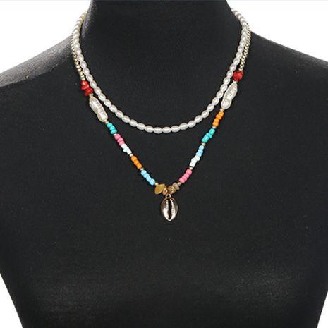 Perles de mode pendentif coquillage en métal gravier collier de perles rondes en or collier de style bohème NHJQ236011's discount tags