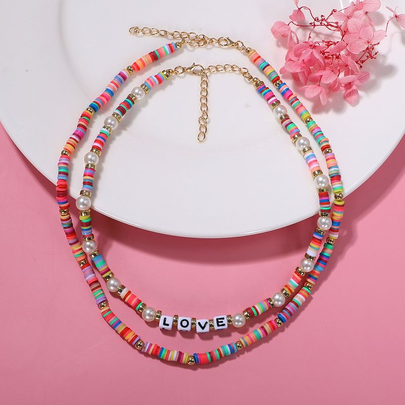 Soft ceramic letter double-layer pearl shell necklace women star bohemian style wild bracelet  NHJQ236012