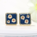 fashion and elegant square alloy drop oil small daisy earrings ear jewelry wholesale nihaojewelry NHJQ236013