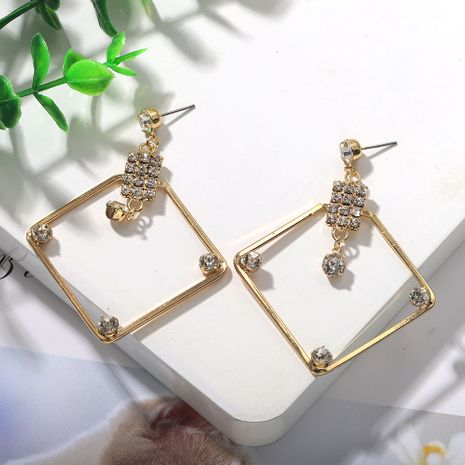 new fashion square diamond-shaped alloy tassel earrings wholesale nihaojewelry NHJQ236018's discount tags