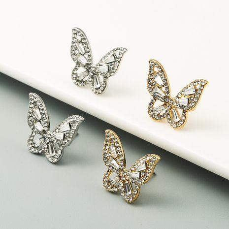fashion zircon butterfly fluttering earrings trendy S925 silver needle stud earrings wholesale nihaojewelry NHLN236026's discount tags