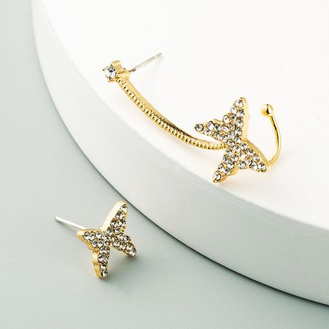 Korean 925 silver needle asymmetric butterfly ear bone clip earrings wholesale nihaojewelry NHLN236027's discount tags