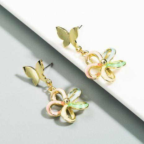 Korean new sun flower butterfly earrings drop oil 925 silver needle color flower earrings wholesale nihaojewelry NHLN236029's discount tags