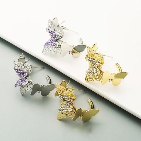 Korean fashion C-shaped butterfly earrings new trendy sweet earrings wholesale nihaojewelry NHLN236030's discount tags
