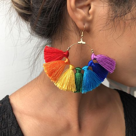 rainbow color series earrings fashion exaggerated color skirt earrings half circle earrings jewelry hot sale wholesale nihaojewelry NHMD236035's discount tags
