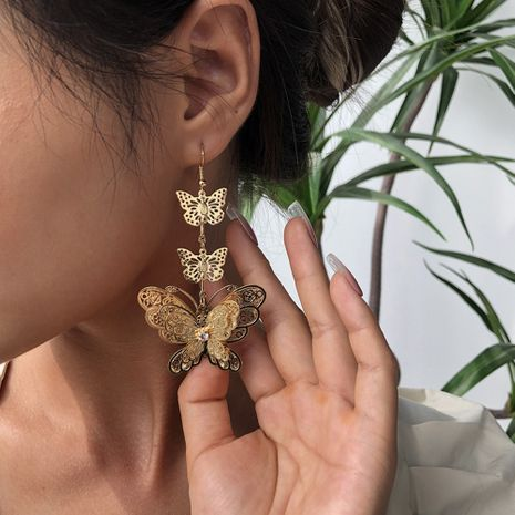 fashion new trendy  long butterfly exaggerated three-layer butterfly electroplating  earrings wholesale nihaojewelry NHMD236037's discount tags