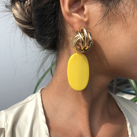 fashion long earrings exaggerated earrings oval alloy plating earrings hot sale wholesale nihaojewelry NHMD236039's discount tags
