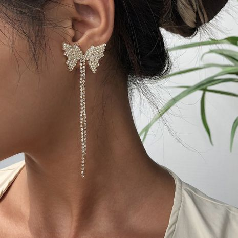 fashion tassel butterfly claw chain earrings hot selling alloy long earrings wholesale nihaojewelry NHMD236042's discount tags