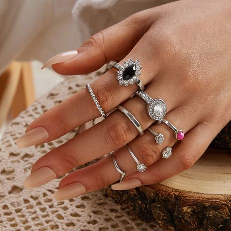 new alloy v-shaped open twist ring 8-piece set shiny diamond flower ring set wholesale nihaojewelry NHGY236051's discount tags