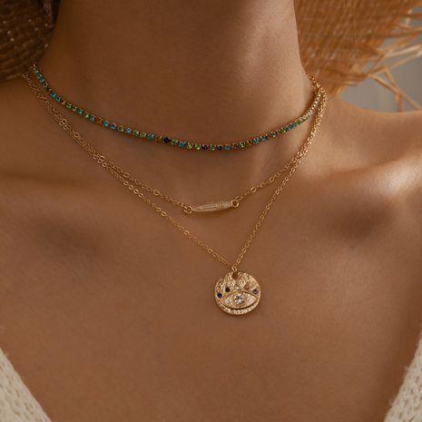 Nouvelle mode flèche démon oeil collier 3 pièces ensemble couleur diamant collier multicouche NHGY236053's discount tags