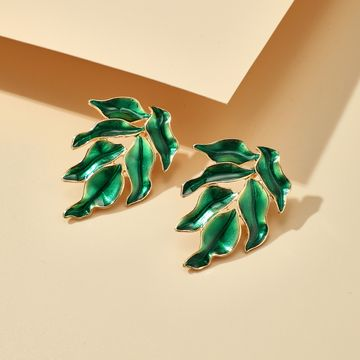 popular new product creative drop oil green leaf earrings stand jewelry wholesale nihaojewelry NHGY236066