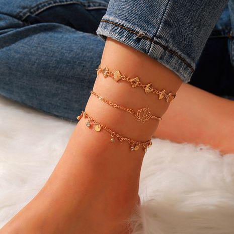 New Fashion Creative Simple Disc Inlaid Rhinestone Lotus Fan-shaped Shell Anklet 3-Piece Set wholesale nihaojewelry NHGY236070's discount tags