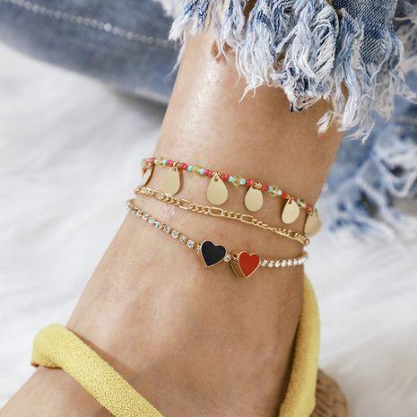 nouveau disque gland amour cheville mode couleur perle de riz en forme de coeur cheville ensemble en gros nihaojewelry NHGY236072's discount tags