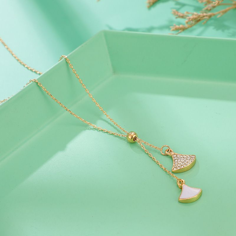 Shell diamond fan-shaped necklace simple temperament leaf scallop rhinestone necklace female NHGY236073