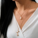 Alloy portrait rose flower pendant necklace Jesus multilayer clavicle chain women NHGY236074