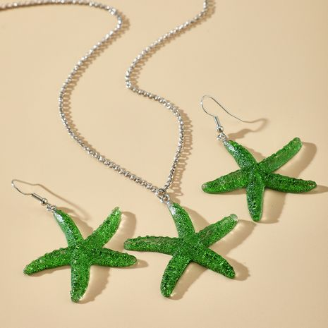 summer fashion jewelry new starfish earrings necklace set star necklace earrings two-piece set wholesale nihaojewelry NHGY236075's discount tags